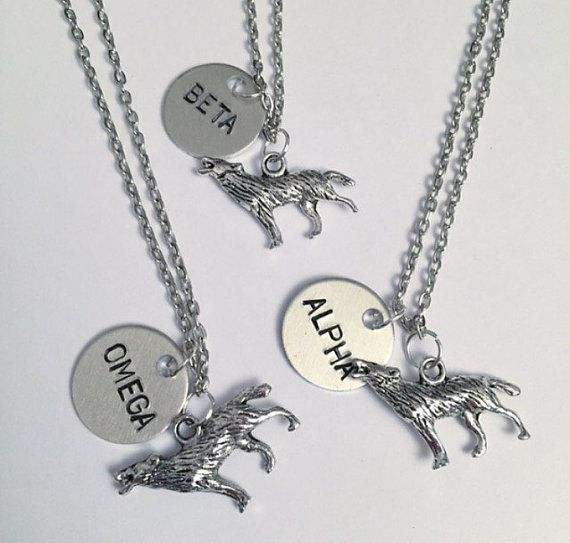 Alpha Beta Omega Wolf Necklaces Best Friend by LulusStampings