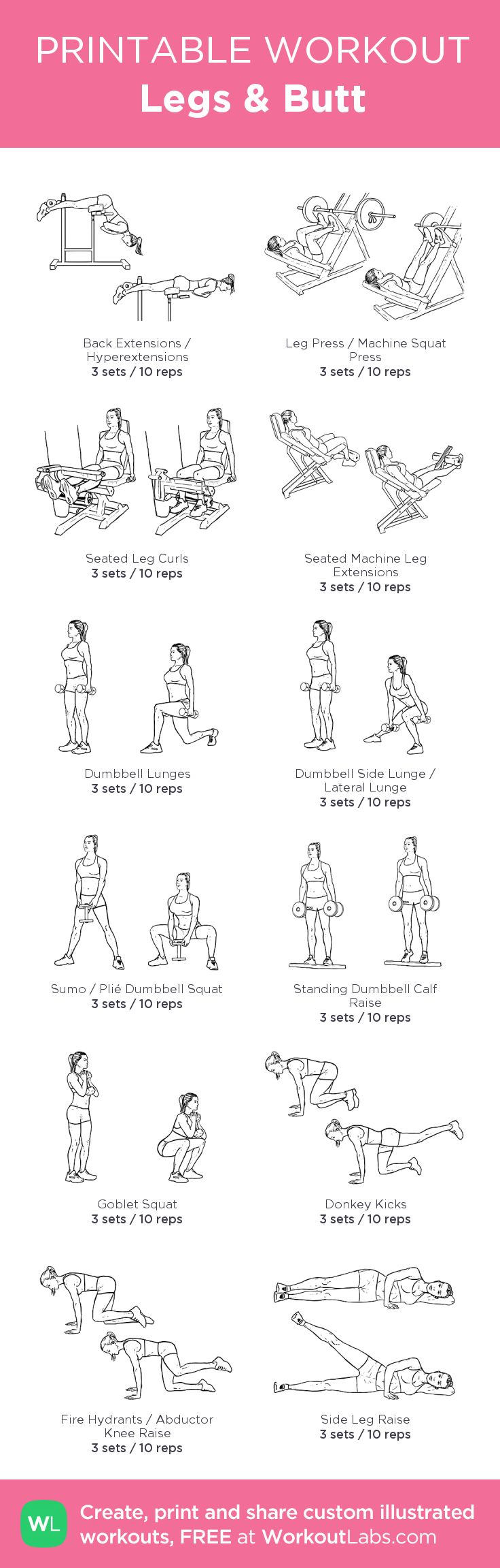 Legs & Butt – my custom workout created at WorkoutLabs.com • Click through to download as printable PDF! #customworkout