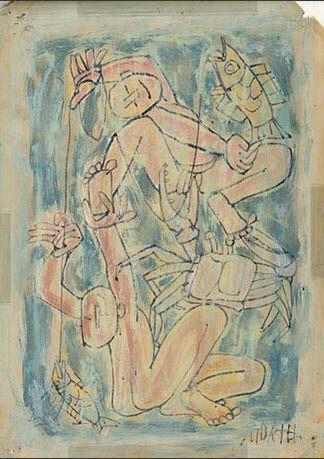 Lee Jung-seob(Korean, 이중섭, 1916 - 1956), Children, Fish and Crab