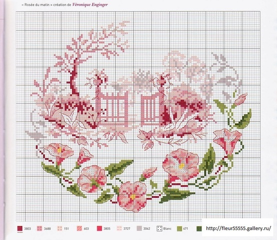free cross stitch -- pink garden gate and pink flower border.