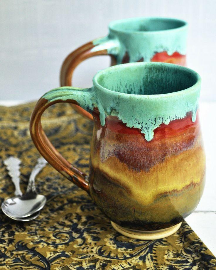 Lee Wolfe Pottery Beer Stein Or Large Mug In Joyful