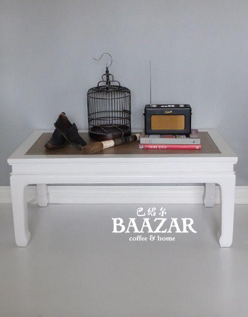 Vitt bord, i-262, med rottingyta. Hitta fler möbler på www.baazar.se bord, soffbord,orientaliskt, vardagsrum, kina, baazar, litet, vitt, china, coffee table1