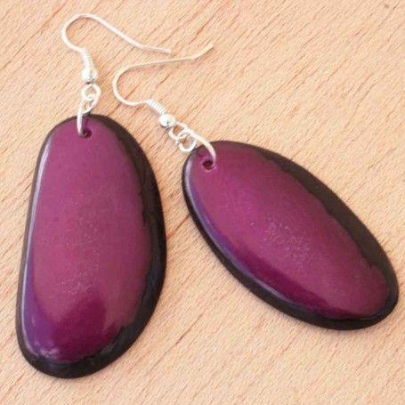 Dangling Fuchsia Tagua Earrings #organic #handmade #eco friendly - Cool modern color: http://www.artisansintheandes.com/beaded-earrings-green-dangling/beaded-earrings-dangling-tagau-fuchsia-slice