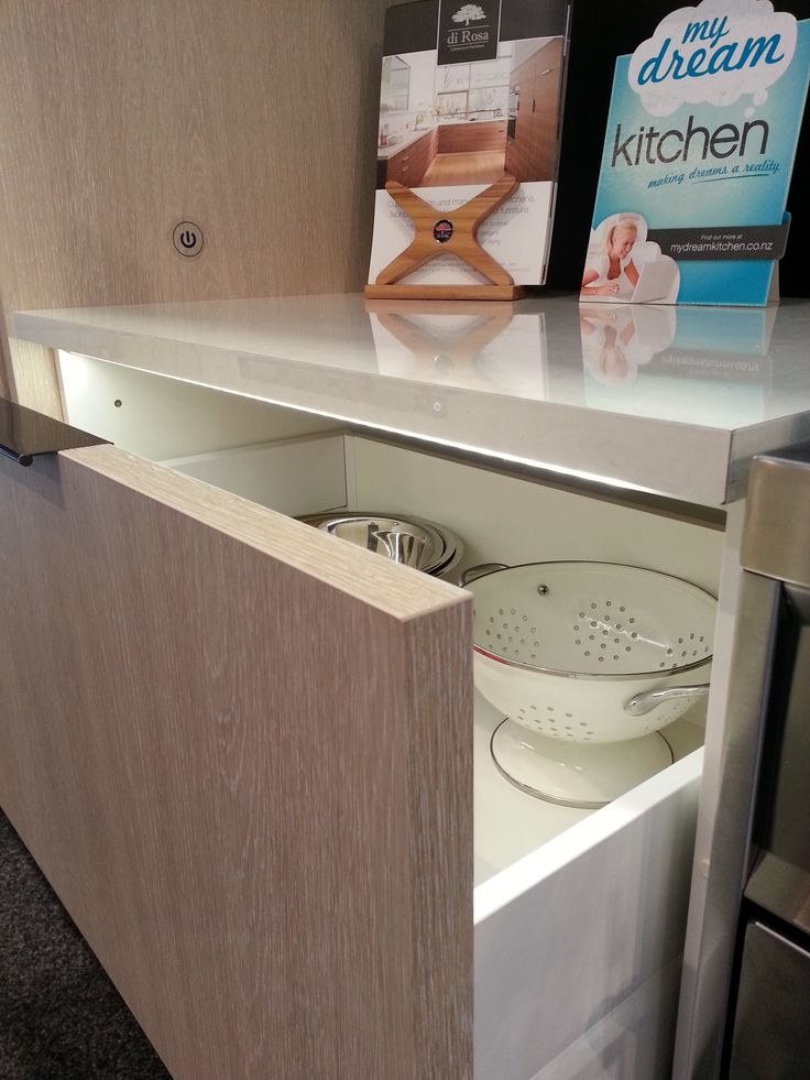 Melteca Whitewashed Oak Puregrain cabinetry with Laminex DiamondGloss White Valencia bench top My Dream Kitchen Designed and manufactured by Di Rosa Cabinetry & Furniture