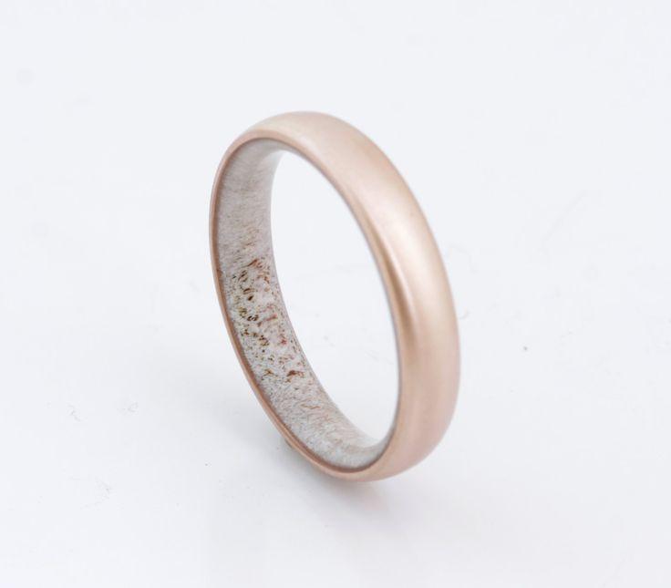 Copper wedding band antler ring antler man ring engagement ring Antler wedding band