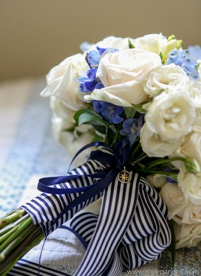 Loving this blue white ribboned bouquet-perfect nautical wedding bouquet!