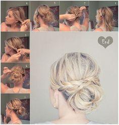 Messy Braid Bun for Medium Hair - Updo Hairstyle Tutorials