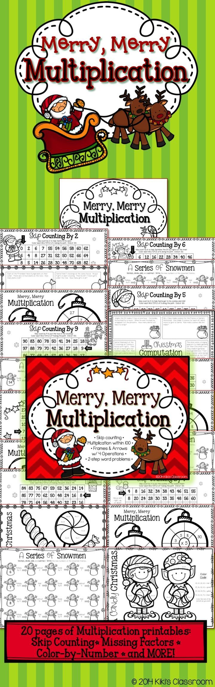 Third Grade Christmas Math • 20 fun, seasonal, MULTIPLICATION printables! Cute and engaging for the holiday season: