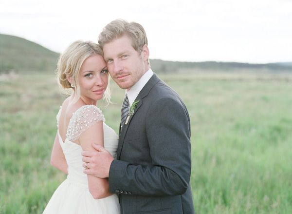 Pretty sheer straps, something fresh!  Tired of strapless  Rustic Chic Ranch Wedding in Colorado | Bridal Musings