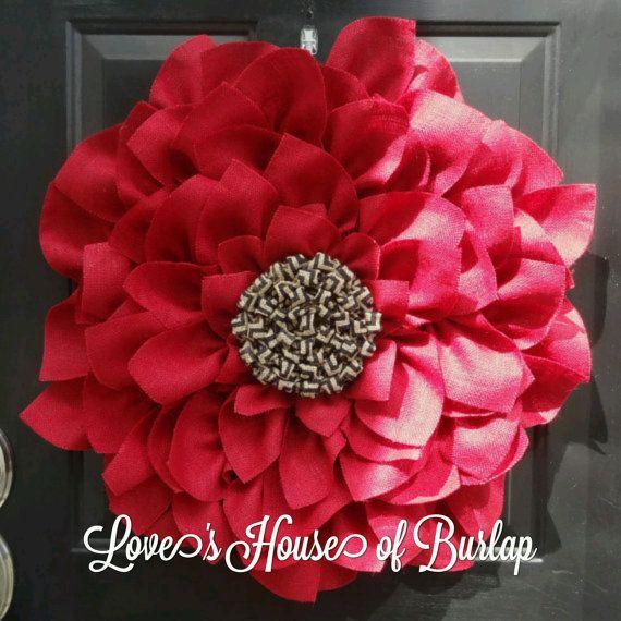 Red Burlap Flower Wreath Anytime Wreath by LovesHouseofBurlap