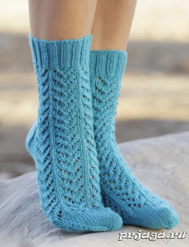Носочки спицами «Морские шаги», схема