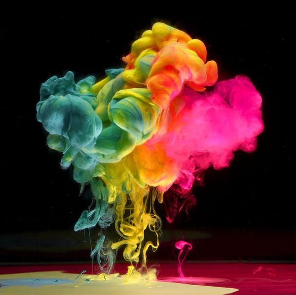 neon ink in water by mark mawson.