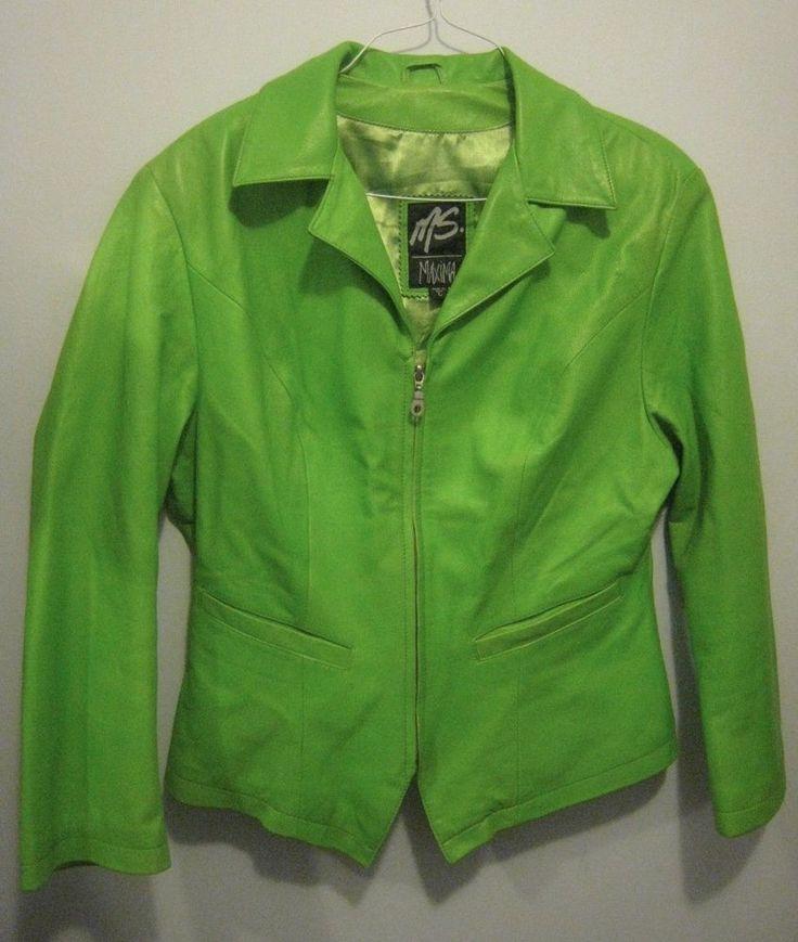 Women S Ms Maxima Green Leather Blazer Jacket Coat Lime