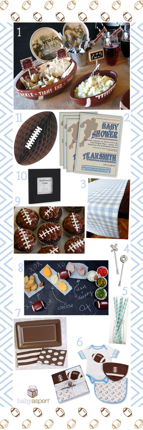 "Blue and Brown Vintage Football Baby Shower Theme with Football Layette by Baby Aspen | #babygiftsfrombabyaspen Pin to Win! How to enter: 1) Click through to fill out the form 2) Follow @babyaspen on Pinterest 3) Pin your favorite baby gifts with inspiration from our ""Adorable Gifts that Wow from Baby Aspen"" board http://www.pinterest.com/babyaspen/adorable-gifts-that-wow-from-baby-aspen/ babyaspen.com http://sweeps.piqora.com/babyaspen"
