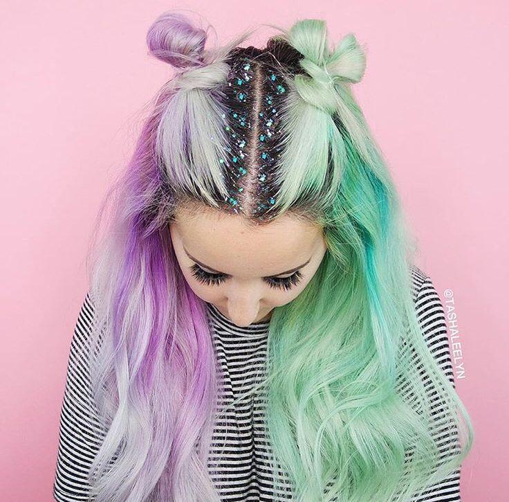 Double bun Violet & mint glitter roots x                                                                                                                                                                                 More