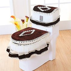 3 Pieces Lace Toilet Seat Cover/Lid Cover/Tank Cover Set Toilet Accessories  Toilet Warmer Cover Install With Zipper Design Suitable For U Shaped Toilet  . Part 65