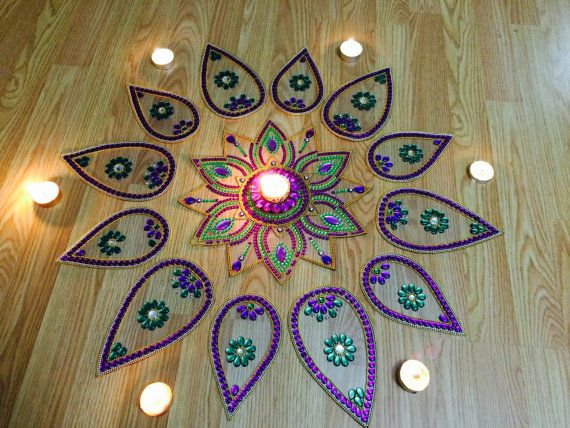 Big Rangoli For Diwali 2014 decor with auspicious Kundan Golden and red Elegant looking  - Ready to use