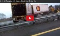 1.18.15 NJ Turnpike I-95 Crash – Black Ice – Trailer flip Whoa! The uploader of this viralling vid put his life on the line when he captured this amazing crash on the New Jersey Turnpike. A tractor trailer lost control on black ice and ended up on the other side of the highway, narrowly missing him…