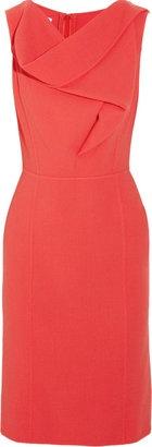 Coral Oscar de la Renta Cowl-neck wool-crepe dress: Color