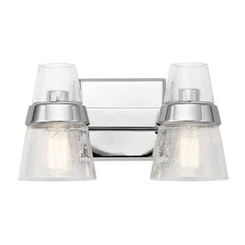 Kichler Reese 2-Light 8-In Chrome Cone Vanity Light Bar 45396Ch