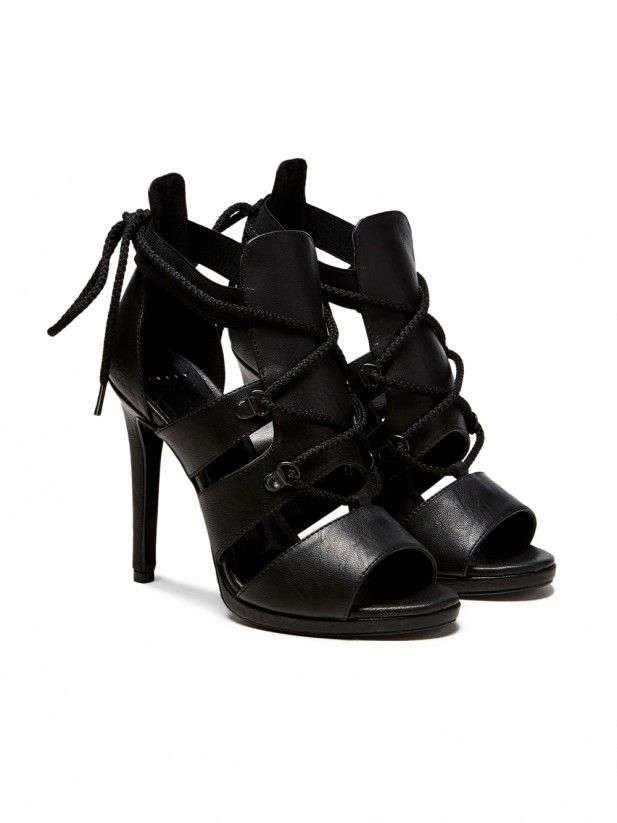 High-heeled lace-up sandals black Sisley