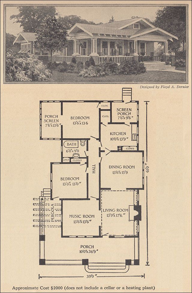 1916 One Story Bungalow - Ladies Home Journal - Floyd Dernier ~ What generously sized rooms! Very nicely sized bedrooms for a house of this size.