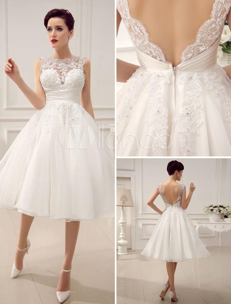 Robe courte de mariée fabuleuse A-ligne ivoire avec dentelle à dos décolleté - Milanoo.com