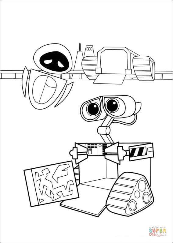 Wall E Shows To Eva His Work Coloring Page Free Printable Coloring Pages Coloring Pages Baby Coloring Pages Disney Coloring Pages