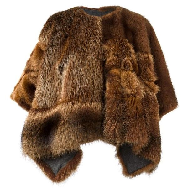 23 Out Of Rules fur cape ($4,915) ❤ liked on Polyvore featuring outerwear, brown, cape coat, fox cape, fox fur cape, brown cape and fur cape