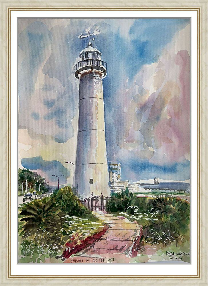 Original Painting Art Watercolor Lighthouse Landscape 416uv