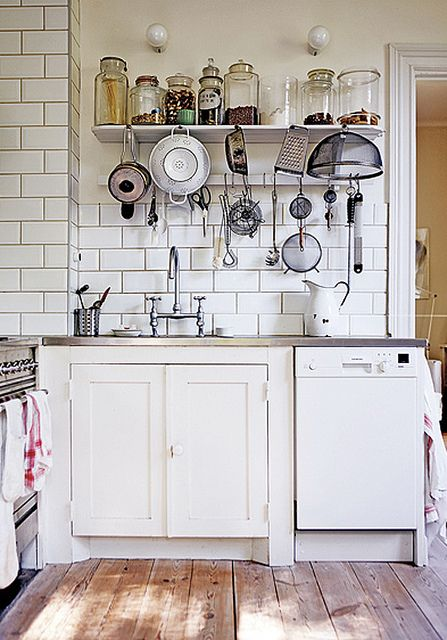 Subway tile and open shelving!