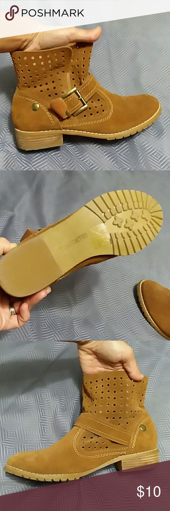 Camel colored booties Worn twice.Restricted brand, size 6.5.  Buckle on sides. Perforated shaft. Great used condition. Restricted Shoes Ankle Boots & Booties