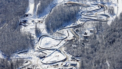 Aerial shot of the bobsleigh & skeleton track