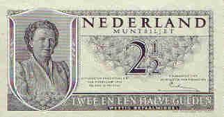 Nederlands geld uit de jaren 50 tot 70  2 1/2 guldenbiljet voorkant