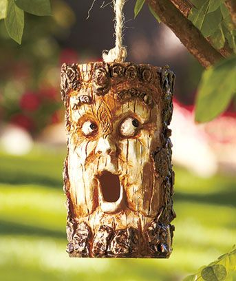Wood-Look Character Birdhouses, at The Lakeside CollectionGardens Ideas, Birdhouses Feeding, Birdhouses Gardens, Funny Face, Character Birdhouses, Face Birdhouses, Birds House, Bird Houses, Trees Stumps
