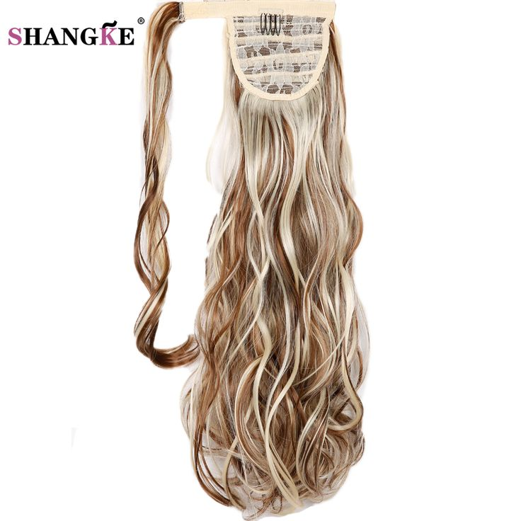 """SHANGKE20"""" Long  Wavy Ponytail Natural Clip In Pony Tail Hair Extensions Wrap On Hair Heat Resistant Hair Ponytails Hair Piece"""
