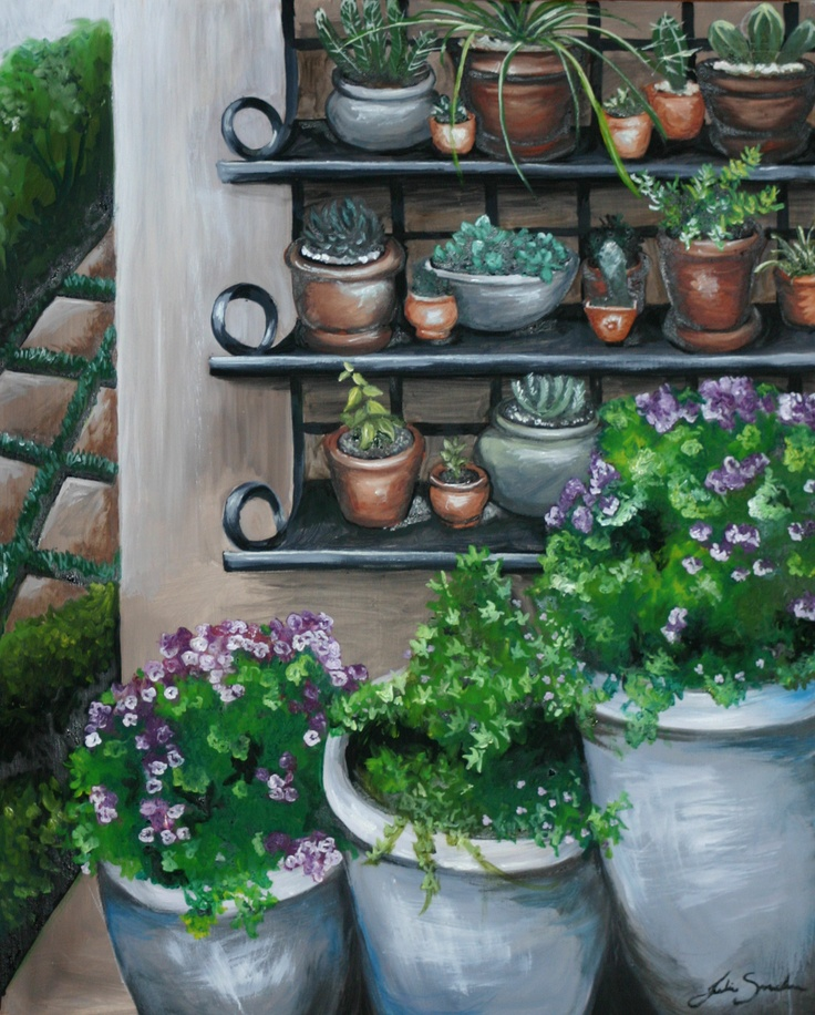 Pots on a Wall - Oil painting by Julie Sneeden
