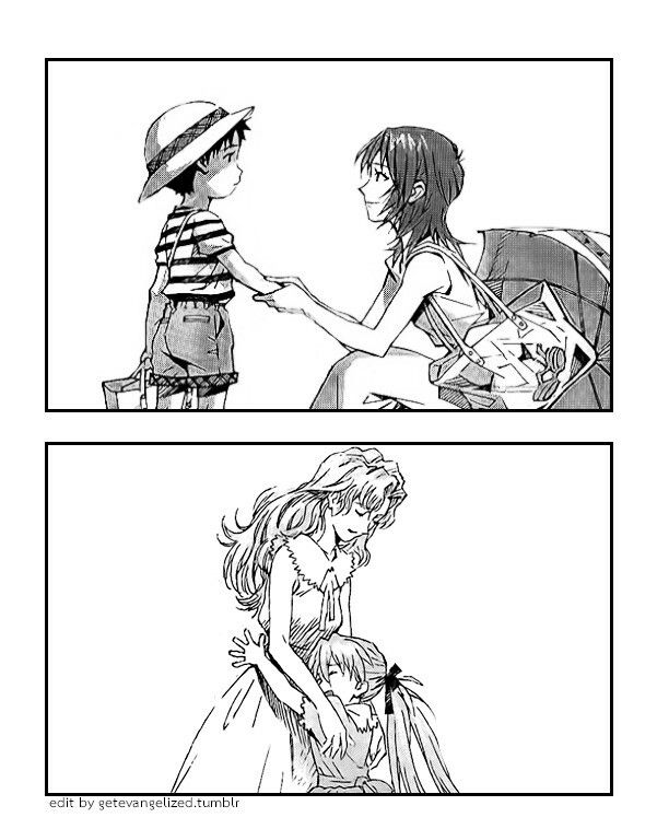 Yui Ikari - mother of Shinji, Kyoko Zeppelin - mother of Asuka, Neon Genesis Evangelion
