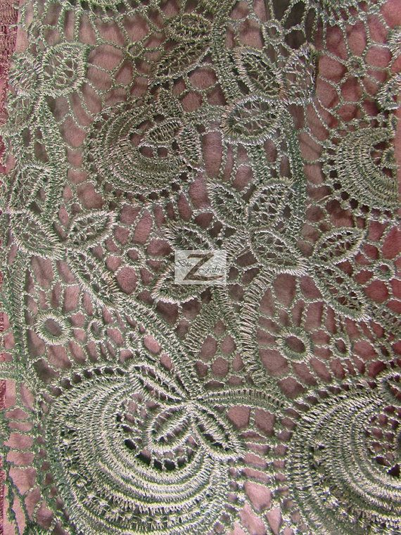 Floral Bib Guipure Venice Chemical Lace Fabric AQUA by BigZFabric