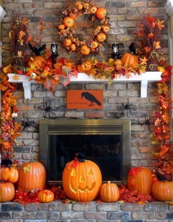 Halloween Themed Fireplace Decor