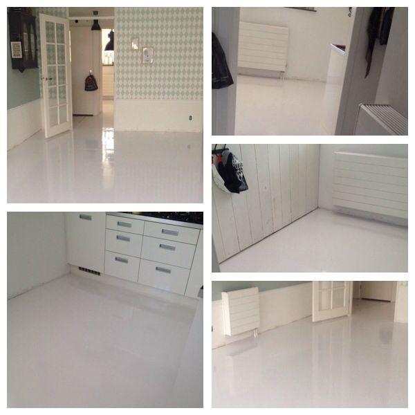 Super blij met onze betonvloer, eerst egaline laten storten en erna met Histor betonverf geschilderd!
