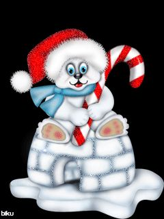 POLAR BEAR WITH CANDY CANE SITTING ON AN IGLOO