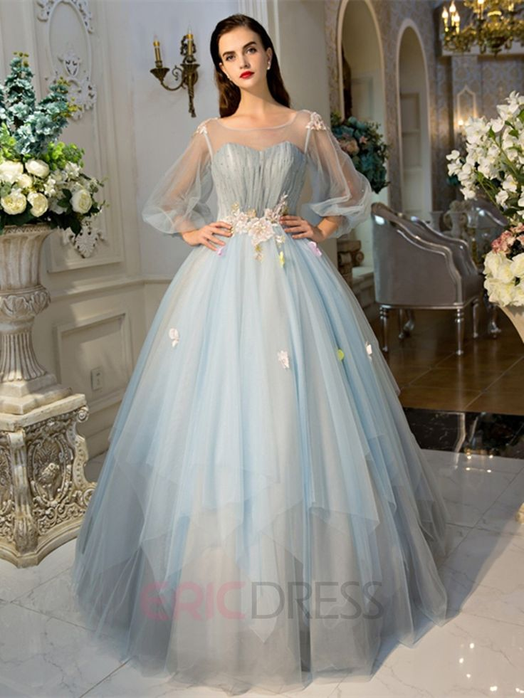 Ericdress Scoop Ball Gown Long Sleeves Pearls Pleats Court Train Quinceanera…
