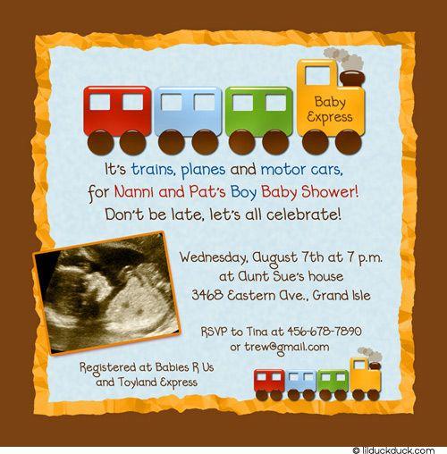 orange baby shower | Choo-Choo-Train-themed-Baby-Shower-invitation-Brown-Orange-Blue