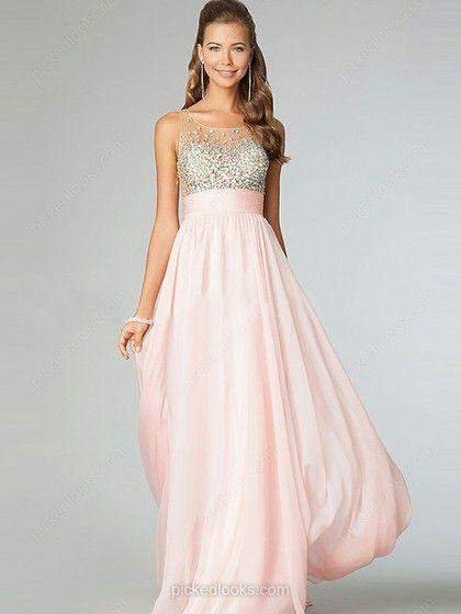 Chiffon Bateau Floor-length A-line Rhinestone Prom Dresses -NZD$184.19
