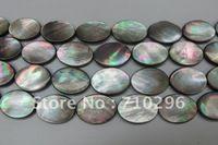 Black Shell šperky Beads18X25 mm Oval módne Shell šperky Hľadanie Beads, 5string / lot