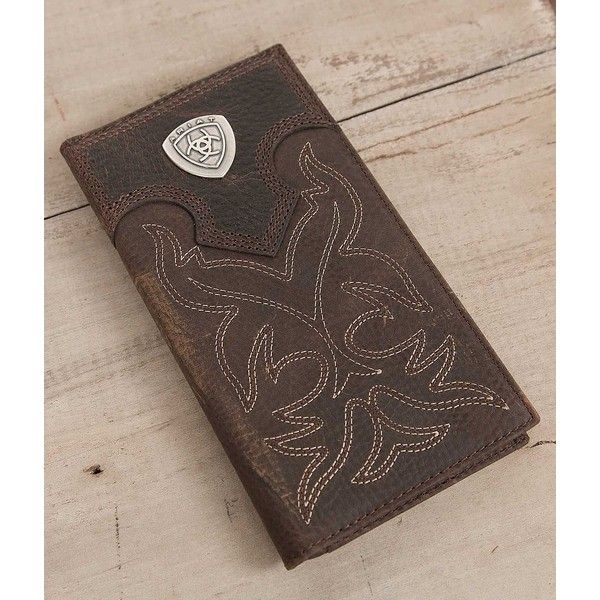 Ariat Western Rodeo Wallet - Brown (58 AUD) ❤ liked on Polyvore featuring men's fashion, men's bags, men's wallets, brown, mens western bifold wallets, mens brown leather wallet, mens western leather wallets, mens western leather checkbook wallet and mens cowboy wallet