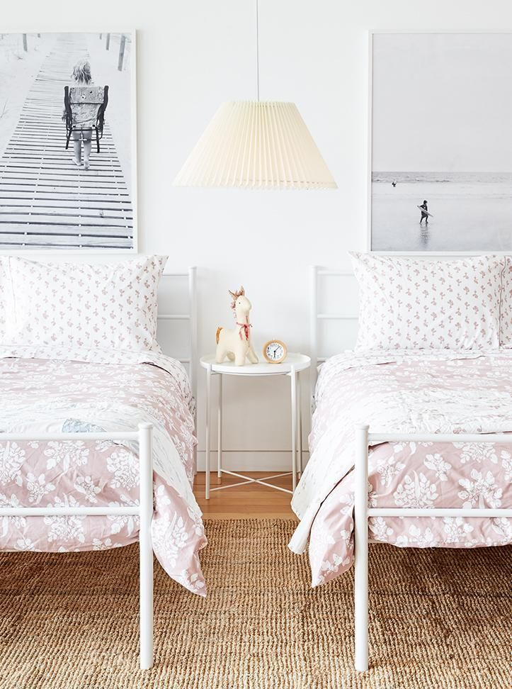 super cute twin beds w/ lewis duvet covers Shared girls