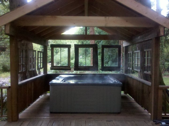 Hot tub surround re-purposing some old windows that came ...