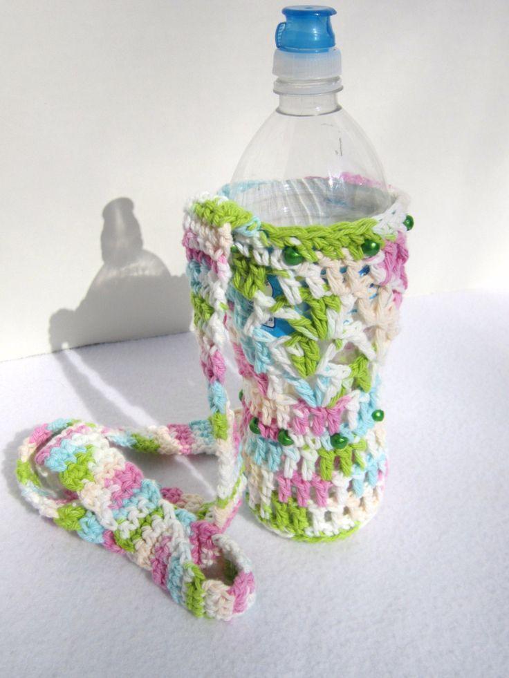Crochet Cotton Water Bottle Holder Pastel Colors for Spring, Beaded Water Bottle Holder, Water Bottle Carrier by Charlene by crochetedbycharlene on Etsy
